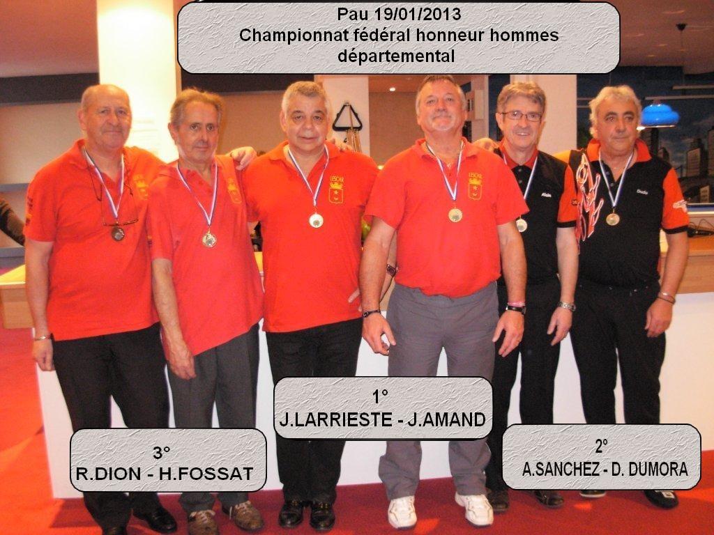 Championnat fédéral honneur doublette 2013