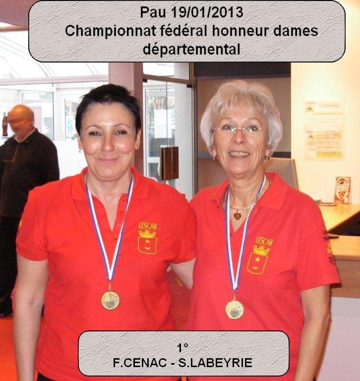 Championnat fédéral honneur doublette dames 2013