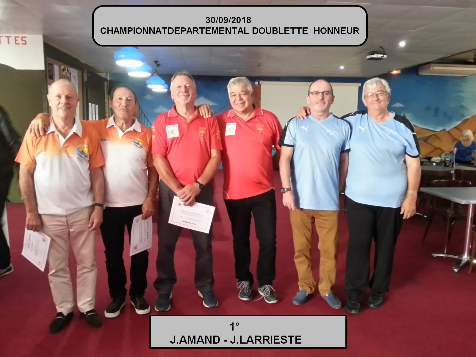 30/09/2018 DOUBLETTE HONNEUR DEPARTEMENTALE
